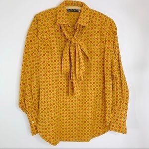 ESCADA Vintage Geometric Blouse with Ties - Sz. 36
